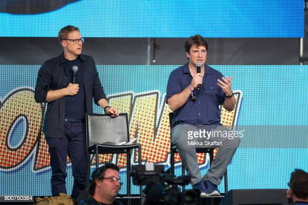 Actors Alan Tudyk and Nathan Fillon talk at Con Man panel at ID10T festival at Shoreline Amphitheatre on June 24 2017 in Mountain View California