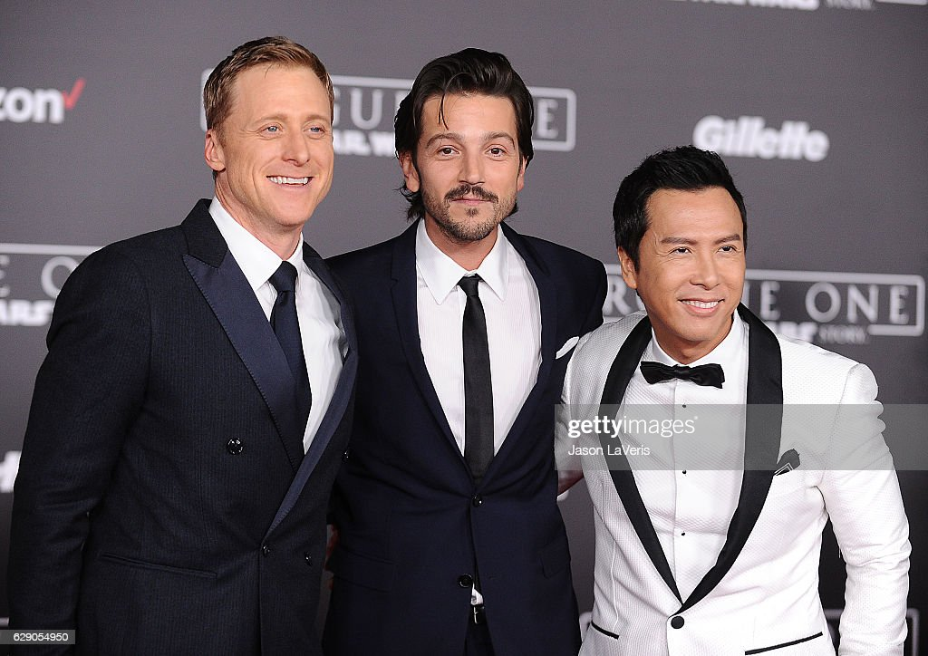 Actors Alan Tudyk, Diego Luna and Donnie Yen attend the premiere of 'Rogue One: A Star Wars Story' at the Pantages Theatre on December 10, 2016 in Hollywood, California.