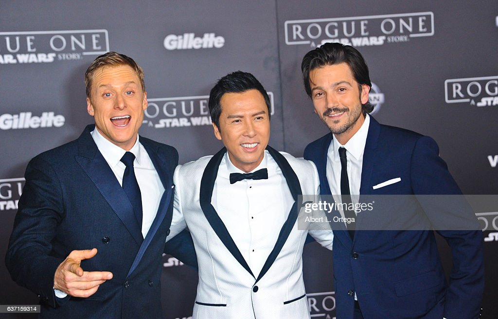 Actors Alan Tudyk, Donnie Yen and Diego Luna arrive for the Premiere Of Walt Disney Pictures And Lucasfilm's 'Rogue One: A Star Wars Story' held at the Pantages Theatre on December 10, 2016 in Hollywood, California.