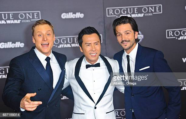 Actors Alan Tudyk Donnie Yen and Diego Luna arrive for the Premiere Of Walt Disney Pictures And Lucasfilm's 'Rogue One A Star Wars Story' held at the...