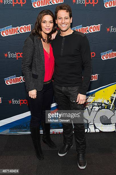 Actors Alana De La Garza and Ioan Gruffudd attend ABC Network's 'Forever' press room at 2014 New York Comic Con Day 4 at Jacob Javitz Center on...