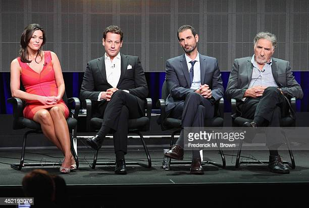 Actors Alana de la Garza Ioan Gruffudd Executive producer Matt Miller and actor Judd Hirsch speak onstage at the 'Forever'' panel during the...