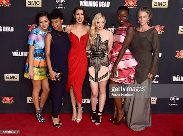 Actors Alanna Masterson Sonequa MartinGreen Lauren Cohan Emily Kinney Danai Gurira and Melissa McBride attend the season 5 premiere of 'The Walking...