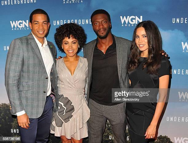 Actors Alano Miller Amirah Vann Aldis Hodge and Jurnee SmollettBell attend the screening and panel for WGN America's 'Underground' at Landmark...