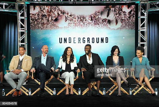 Actors Alano Miller Chris Meloni Jurnee SmollettBell Aldis Hodge Jessica de Gouw and Amirah Vann speak onstage during the WGN America Winter 2016 TCA...