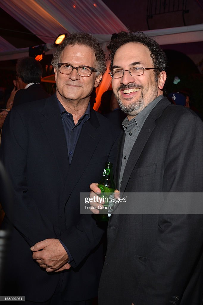 Actors <a gi-track='captionPersonalityLinkClicked' href=/galleries/search?phrase=Albert+Brooks&family=editorial&specificpeople=663700 ng-click='$event.stopPropagation()'>Albert Brooks</a> and Robert Smigel attend 'This Is 40' - Los Angeles Premiere - After Party at Grauman's Chinese Theatre on December 12, 2012 in Hollywood, California.