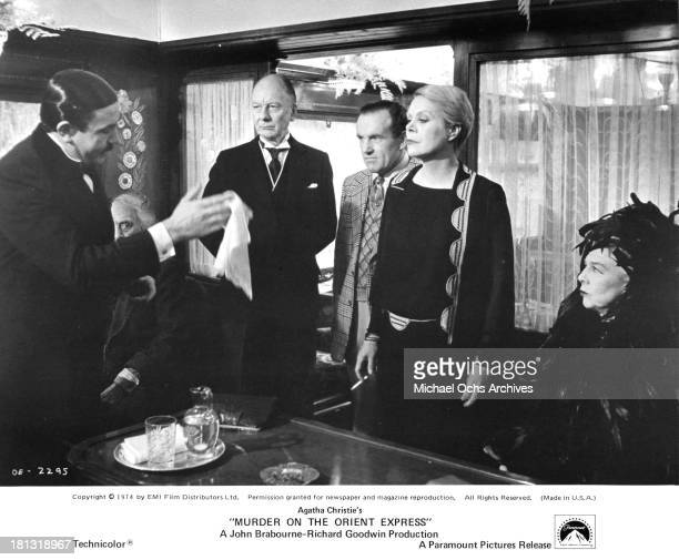 Actors Albert Finney John Gielgud Colin Blakely actresses Rachel Roberts and Wendy Hiller on the set of the Paramount Pictures movie 'Murder on the...