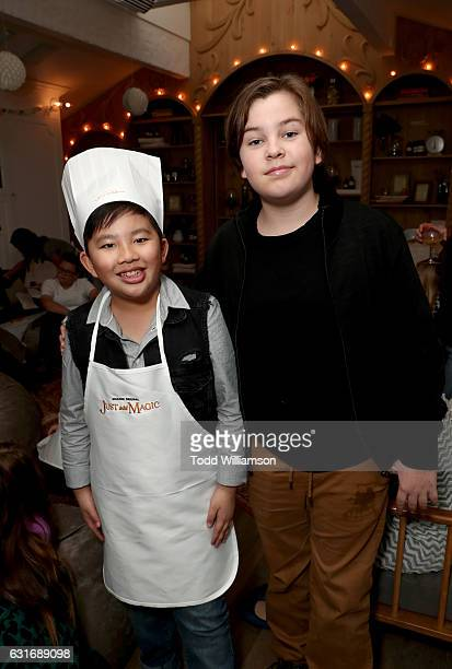 Actors Albert Tsai and Gabe Eggerling attend the second season premiere of Amazon Original Series 'Just Add Magic' at Au Fudge on January 14 2017 in...