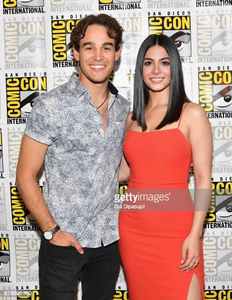 Actors Alberto Rosende and Emeraude Toubia at the Freeform press line for 'Stitchers' and 'Shadowhunters' during ComicCon International 2017 at...