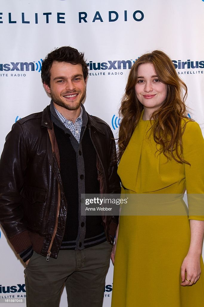 Actors Alden Ehrenreich and Alice Englert visit SiriusXM Studios on February 12, 2013 in New York City.