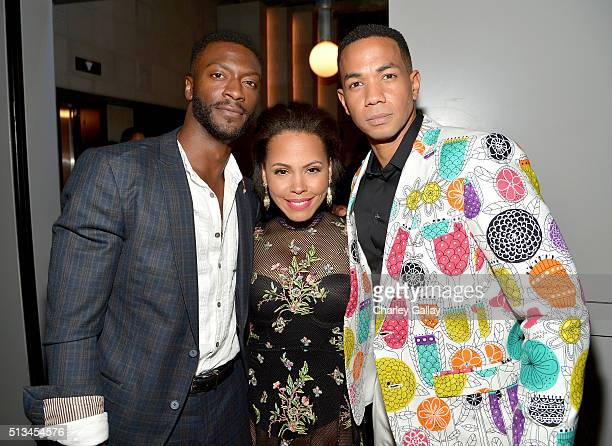 Actors Aldis Hodge Amirah Vann and Alano Miller attend WGN America's 'Underground' World Premiere on March 2 2016 in Los Angeles California