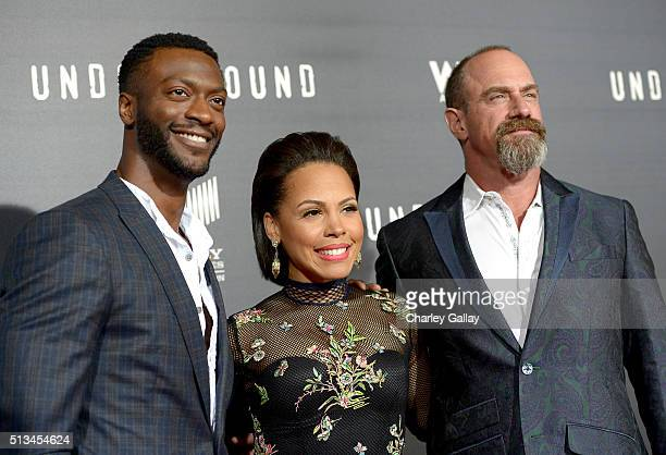 Actors Aldis Hodge Amirah Vann and Christopher Meloni attend WGN America's 'Underground' World Premiere on March 2 2016 in Los Angeles California