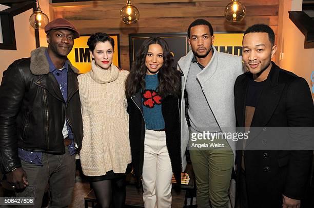 Actors Aldis Hodge Jessica De Gouw Jurnee SmollettBell and Alano Miller and Executive producer John Legend in The IMDb Studio In Park City Utah Day...