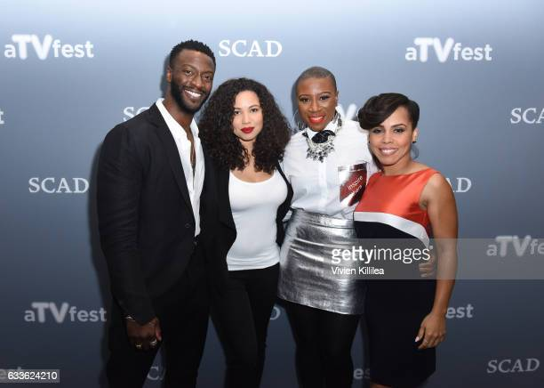 Actors Aldis Hodge Jurnee SmollettBell Aisha Hinds and Amirah Vann attend a press junket for 'Underground' on Day One of aTVfest 2017 presented by...