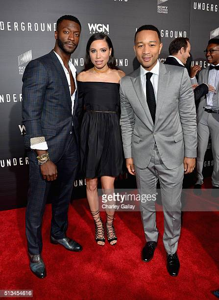 Actors Aldis Hodge Jurnee SmollettBell and Executive producer John Legend attend WGN America's 'Underground' World Premiere on March 2 2016 in Los...
