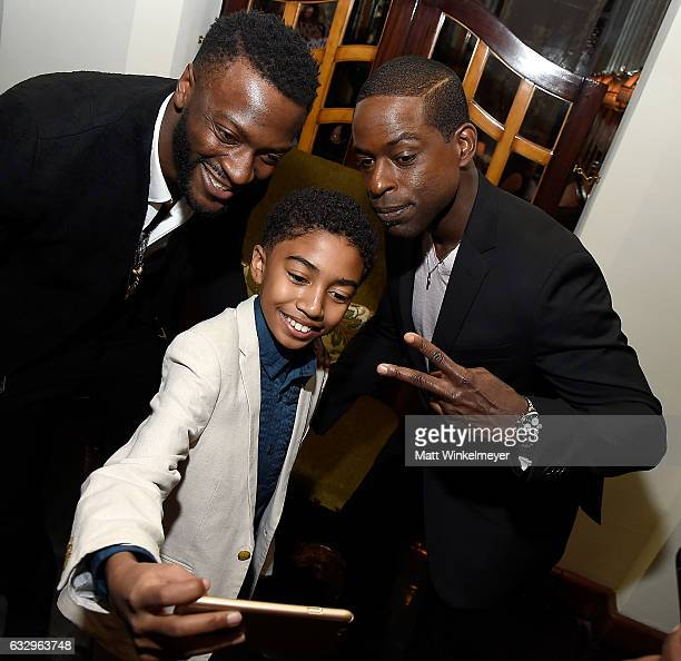 Actors Aldis Hodge Miles Brown and Sterling K Brown attend the Entertainment Weekly Celebration of SAG Award Nominees sponsored by Maybelline New...