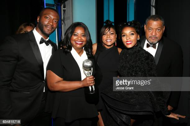 Actors Aldis Hodge Octavia Spencer Taraji P Henson Janelle Monae and Laurence Fishburne attend the 48th NAACP Image Awards at Pasadena Civic...