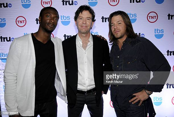 Actors Aldis Hodge Timothy Hutton and Christian Kane attend the 2008 Turner Upfront at Manhattan Center Studios in Hammerstein Ballroom on May 14...