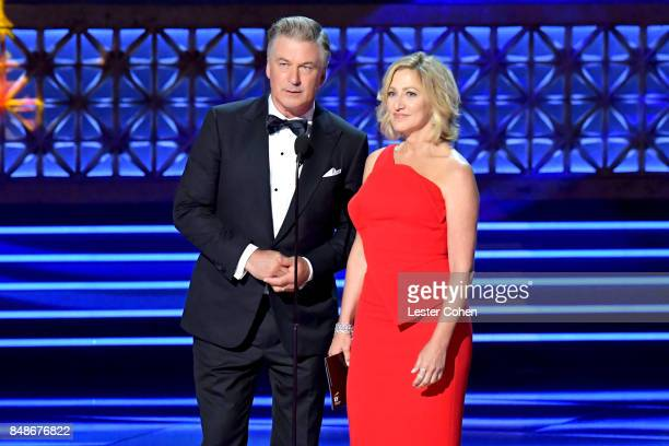 Actors Alec Baldwin and Edie Falco speak onstage during the 69th Annual Primetime Emmy Awards at Microsoft Theater on September 17 2017 in Los...