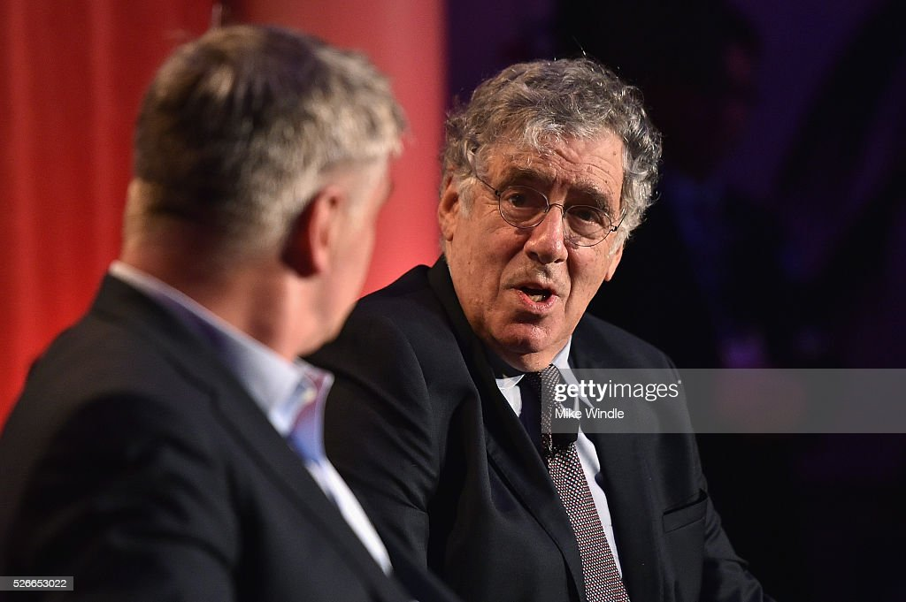 Actors Alec Baldwin (L) and Elliott Gould speak onstage during 'A conversation with Elliot Gould' during day 3 of the TCM Classic Film Festival 2016 on April 30, 2016 in Los Angeles, California. 25826_008