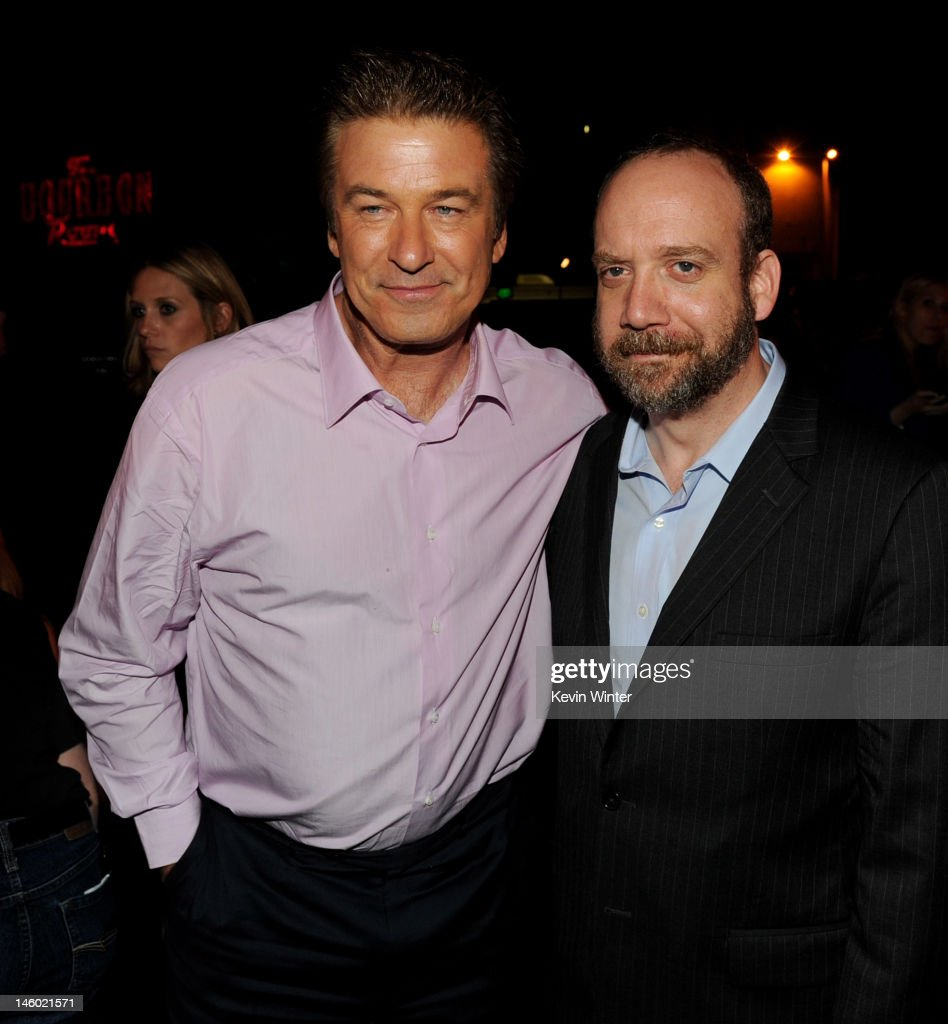Actors <a gi-track='captionPersonalityLinkClicked' href=/galleries/search?phrase=Alec+Baldwin&family=editorial&specificpeople=202864 ng-click='$event.stopPropagation()'>Alec Baldwin</a> (L) and <a gi-track='captionPersonalityLinkClicked' href=/galleries/search?phrase=Paul+Giamatti&family=editorial&specificpeople=202498 ng-click='$event.stopPropagation()'>Paul Giamatti</a> pose at the after party for the premiere of Warner Bros. Pictures' 'Rock Of Ages' at Hollywood and Highland on June 8, 2012 in Los Angeles, California.