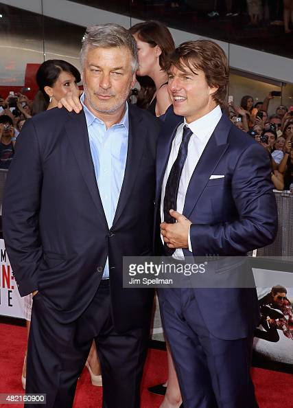 Actors Alec Baldwin and Tom Cruise attend the 'Mission Impossible Rogue Nation' New York premiere at Times Square on July 27 2015 in New York City