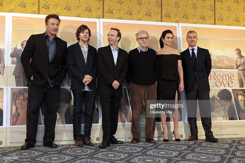 Actors <a gi-track='captionPersonalityLinkClicked' href=/galleries/search?phrase=Alec+Baldwin&family=editorial&specificpeople=202864 ng-click='$event.stopPropagation()'>Alec Baldwin</a>, <a gi-track='captionPersonalityLinkClicked' href=/galleries/search?phrase=Jesse+Eisenberg&family=editorial&specificpeople=625439 ng-click='$event.stopPropagation()'>Jesse Eisenberg</a>, <a gi-track='captionPersonalityLinkClicked' href=/galleries/search?phrase=Roberto+Benigni&family=editorial&specificpeople=217583 ng-click='$event.stopPropagation()'>Roberto Benigni</a>, director <a gi-track='captionPersonalityLinkClicked' href=/galleries/search?phrase=Woody+Allen&family=editorial&specificpeople=202886 ng-click='$event.stopPropagation()'>Woody Allen</a> and actress Penelope Cruz and Medusa president Giampaolo Letta attend 'To Rome With Love' photocall at Hotel Parco dei Principi on April 13, 2012 in Rome, Italy.