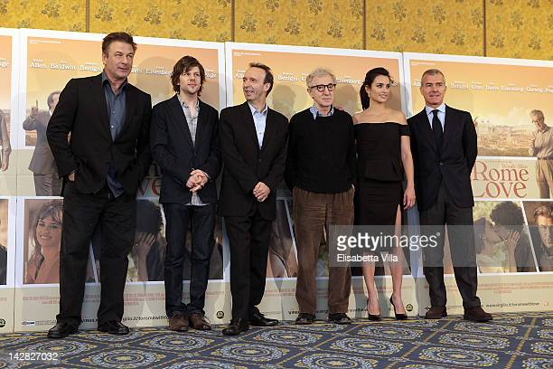 Actors Alec Baldwin Jesse Eisenberg Roberto Benigni director Woody Allen and actress Penelope Cruz and Medusa president Giampaolo Letta attend 'To...
