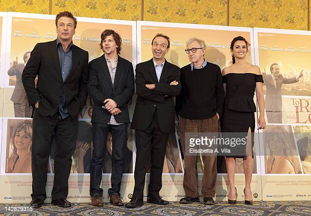 Actors Alec Baldwin Jesse Eisenberg Roberto Benigni director Woody Allen and actress Penelope Cruz attend 'To Rome With Love' photocall at Hotel...