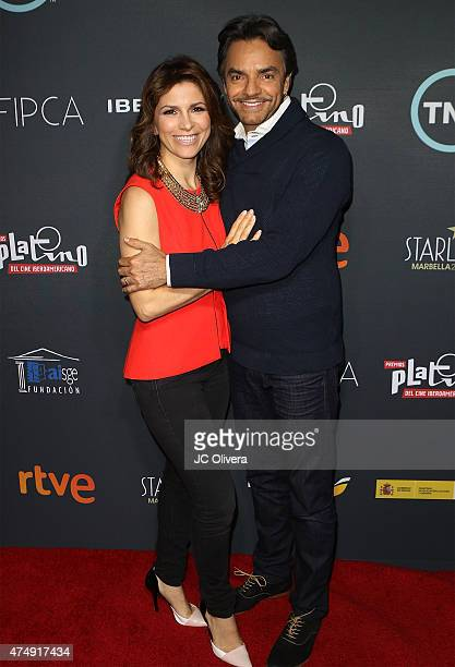 Actors Alessandra Rosaldo and Eugenio Derbez attend the 2nd Annual Premios Platinos of Iberoamerican Cinema nominations announcement at Andaz Hotel...