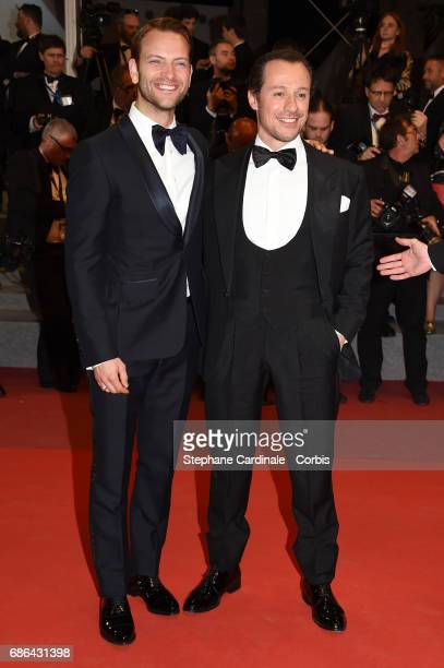 Actors Alessandro Borghi and Stefano Accorsi of ' La Fortunata' attend the 'Redoubtable ' premiere during the 70th annual Cannes Film Festival at...