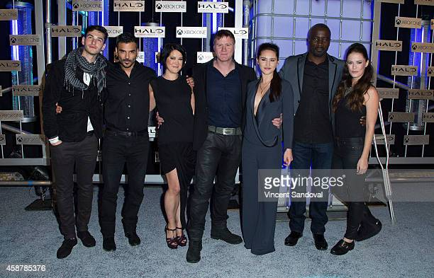 Actors Alex Baht and Christian Contreras executive producer at 343 Industries Studio Kiki Wolfkill and actors Steve Waddington Christina Chong Mike...