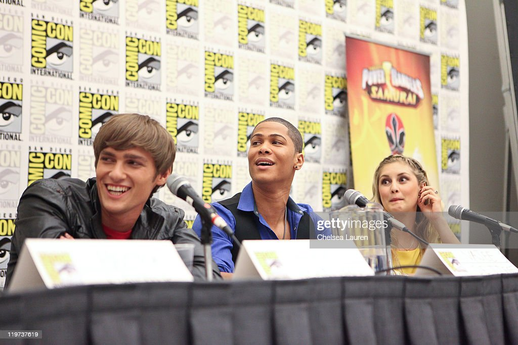 Actors Alex Heartman, Najee De-Tiege and Brittany Anne Pirtle attend Saban's Samurai Power Rangers panel at the 2011 San Diego Comic-Con International on July 23, 2011 in San Diego, California.