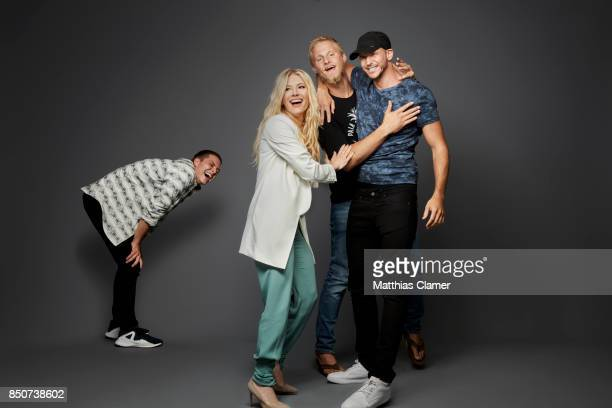 Actors Alex Hogh Andersen Katheryn Winnick Alexander Ludwig and Gustaf Skarsgard from Vikings are photographed for Entertainment Weekly Magazine on...