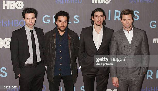Actors Alex Karpovsky Christopher Abbott Adam Driver and Andrew Rannells attends Cinema Society Presents The World Premiere Of 'Girls' Season 2at NYU...