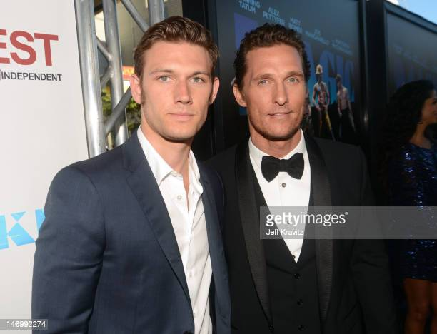 Actors Alex Pettyfer and Matthew McConaughey arrive at the closing night gala premiere of 'Magic Mike' at the 2012 Los Angeles Film Festiva held at...