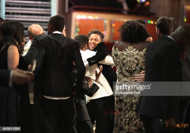 Actors Alex R Hibbert and Ashton Sanders and the cast of Moonlight onstage during the 89th Annual Academy Awards at Hollywood Highland Center on...