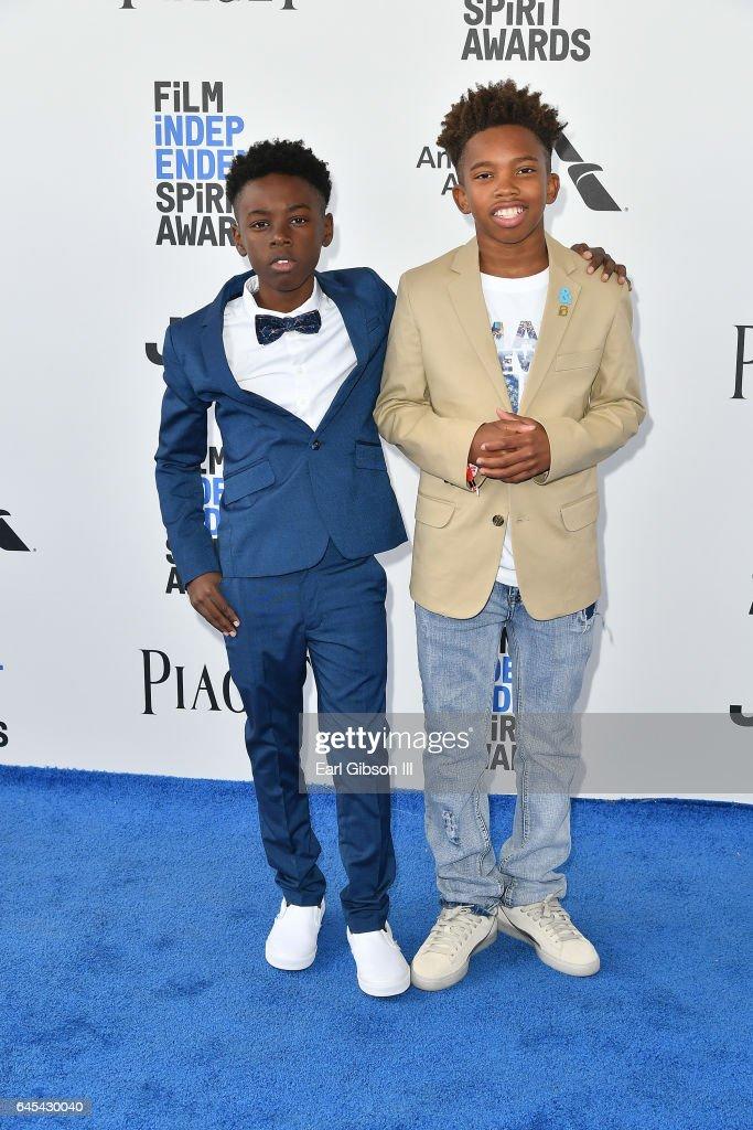 Actors Alex R. Hibbert and Jaden Piner attend the 2017 Film Independent Spirit Awards on February 25, 2017 in Santa Monica, California.