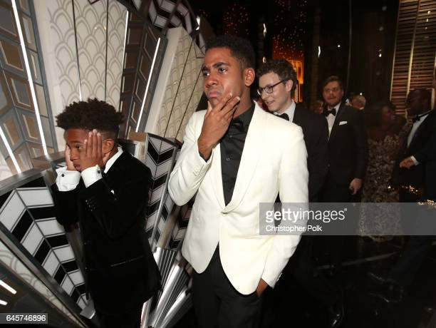 Actors Alex R Hibbert and Jharrel Jerome backstage during the 89th Annual Academy Awards at Hollywood Highland Center on February 26 2017 in...