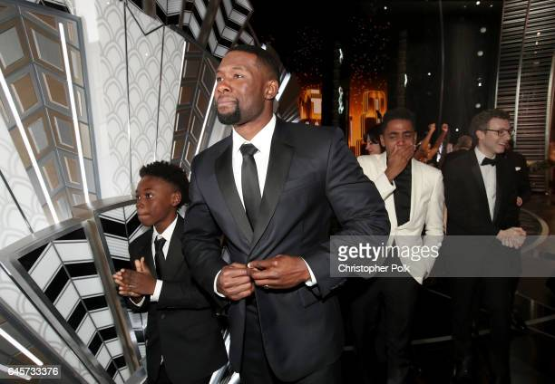 Actors Alex R Hibbert Trevante Rhodes and Jharrel Jeromebackstage during the 89th Annual Academy Awards at Hollywood Highland Center on February 26...
