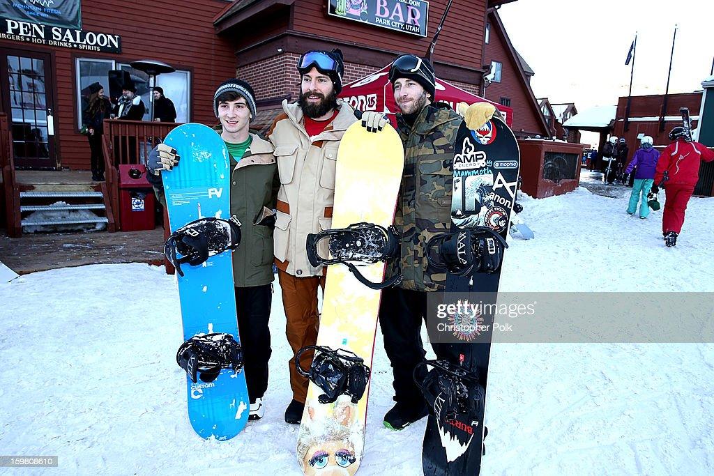Actors Alex Shaffer, Martin Starr and Burton Pro Rider Jack Mitrani attend Burton Learn To Ride - Day 2 on January 20, 2013 in Park City, Utah.