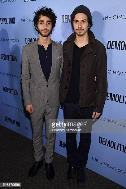 Actors Alex Wolff and Nat Wolff attend a screening of 'Demolition' hosted by Fox Searchlight Pictures with the Cinema Society at the SVA Theater on...