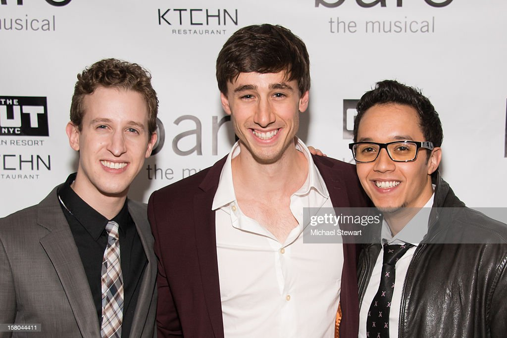 Actors Alex Wyse, Anthony Festa and Justin Gregory Lopez attend 'BARE The Musical' Opening Night After Party at Out Hotel on December 9, 2012 in New York City.
