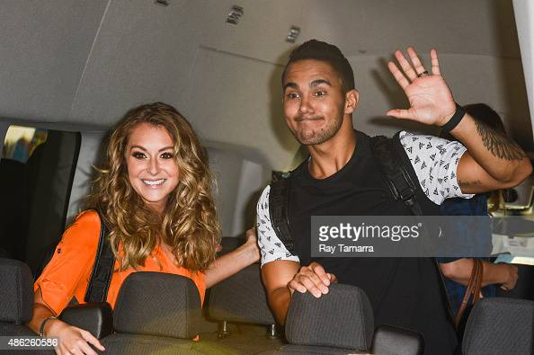 Actors Alexa Vega and Carlos Pena Jr leave the 'Good Morning America' taping at the ABC Times Square Studios on September 2 2015 in New York City
