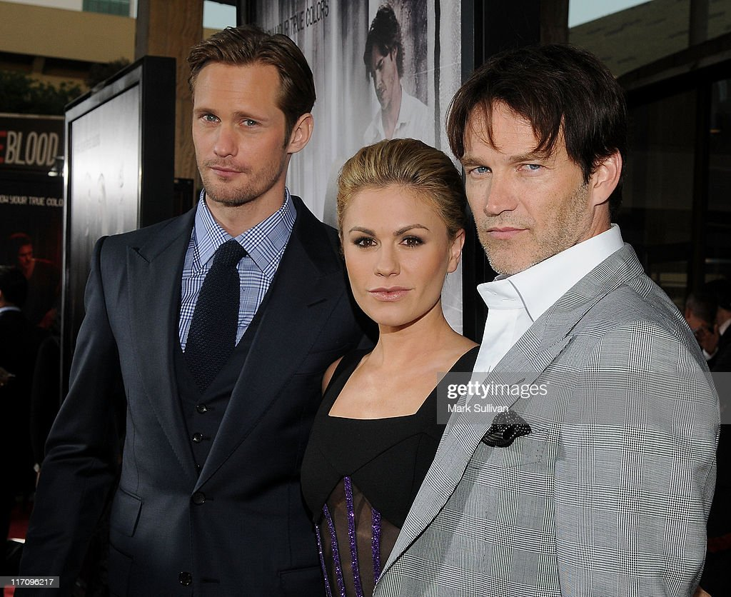 Actors Alexander Skarsgaard, <a gi-track='captionPersonalityLinkClicked' href=/galleries/search?phrase=Anna+Paquin&family=editorial&specificpeople=211602 ng-click='$event.stopPropagation()'>Anna Paquin</a> and <a gi-track='captionPersonalityLinkClicked' href=/galleries/search?phrase=Stephen+Moyer&family=editorial&specificpeople=4323688 ng-click='$event.stopPropagation()'>Stephen Moyer</a> arrive on the red carpet for HBO's 'True Blood' season 4 premiere at The Dome at Arclight Hollywood on June 21, 2011 in Hollywood, California.