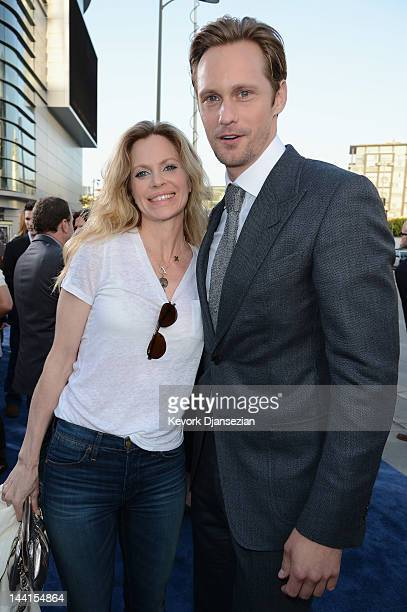 Actors Alexander Skarsgard and Kristin Bauer van Straten attend the Los Angeles premiere of 'Battleship' at Nokia Theatre LA Live on May 10 2012 in...