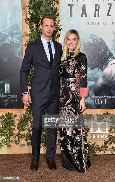 Actors Alexander Skarsgard and Margot Robbie attend the premiere of Warner Bros Pictures' 'The Legend of Tarzan' at Dolby Theatre on June 27 2016 in...