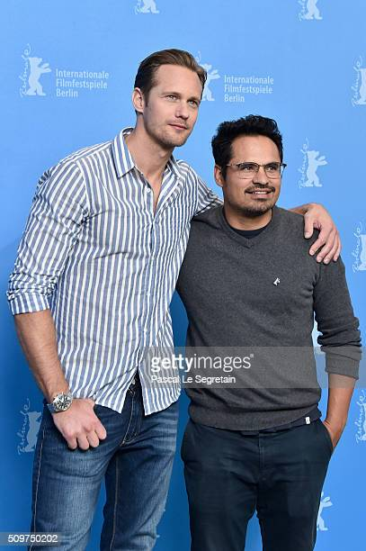 Actors Alexander Skarsgard and Michael Pena attend the 'War On Everyone' photo call during the 66th Berlinale International Film Festival Berlin at...