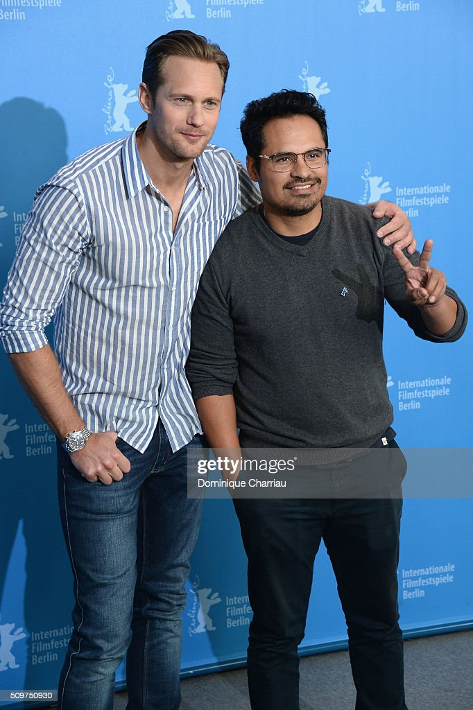 Actors Alexander Skarsgard and Michael Pena attend the 'War On Everyone' photo call during the 66th Berlinale International Film Festival Berlin at Grand Hyatt Hotel on February 12, 2016 in Berlin, Germany.