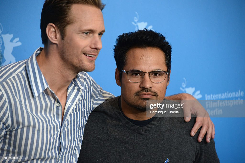 Actors <a gi-track='captionPersonalityLinkClicked' href=/galleries/search?phrase=Alexander+Skarsgard&family=editorial&specificpeople=2483508 ng-click='$event.stopPropagation()'>Alexander Skarsgard</a> and Michael Pena attend the 'War On Everyone' photo call during the 66th Berlinale International Film Festival Berlin at Grand Hyatt Hotel on February 12, 2016 in Berlin, Germany.